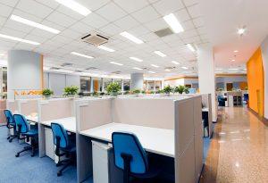 Fluorescent lighting in an office